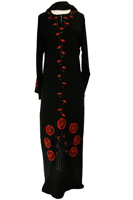 Black Abaya with Front Design Work