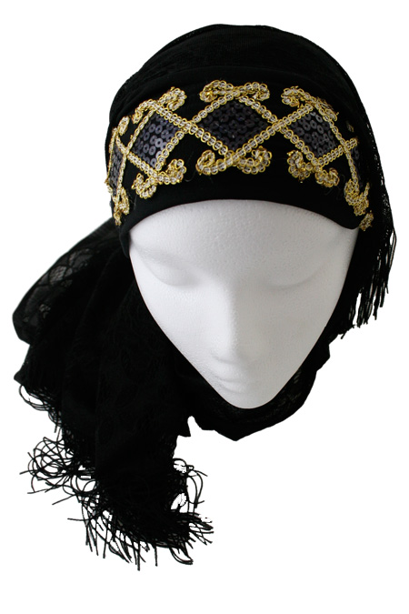 Black Hijab with Gold Color Stripes