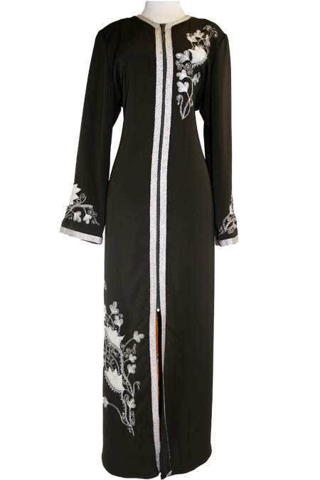 Black Abaya with Embroidered Designs