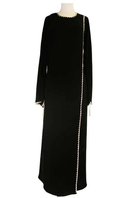 Black Open Abaya with Embroidery