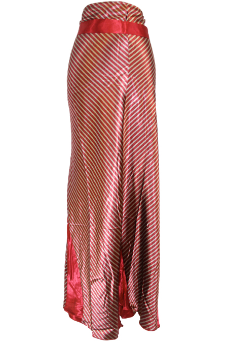 Dubai Satin Long Skirt with Stripes