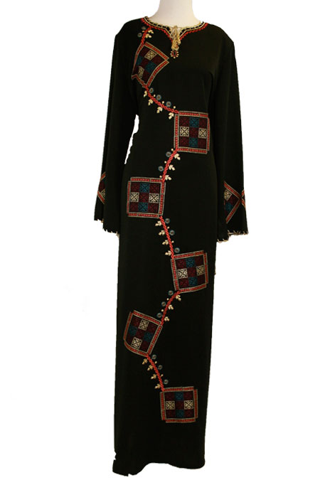Black Abaya with Color Work on Front